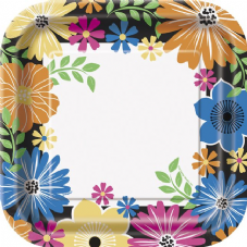 8 Luau Summer Bold Blooms Paper Party Plates